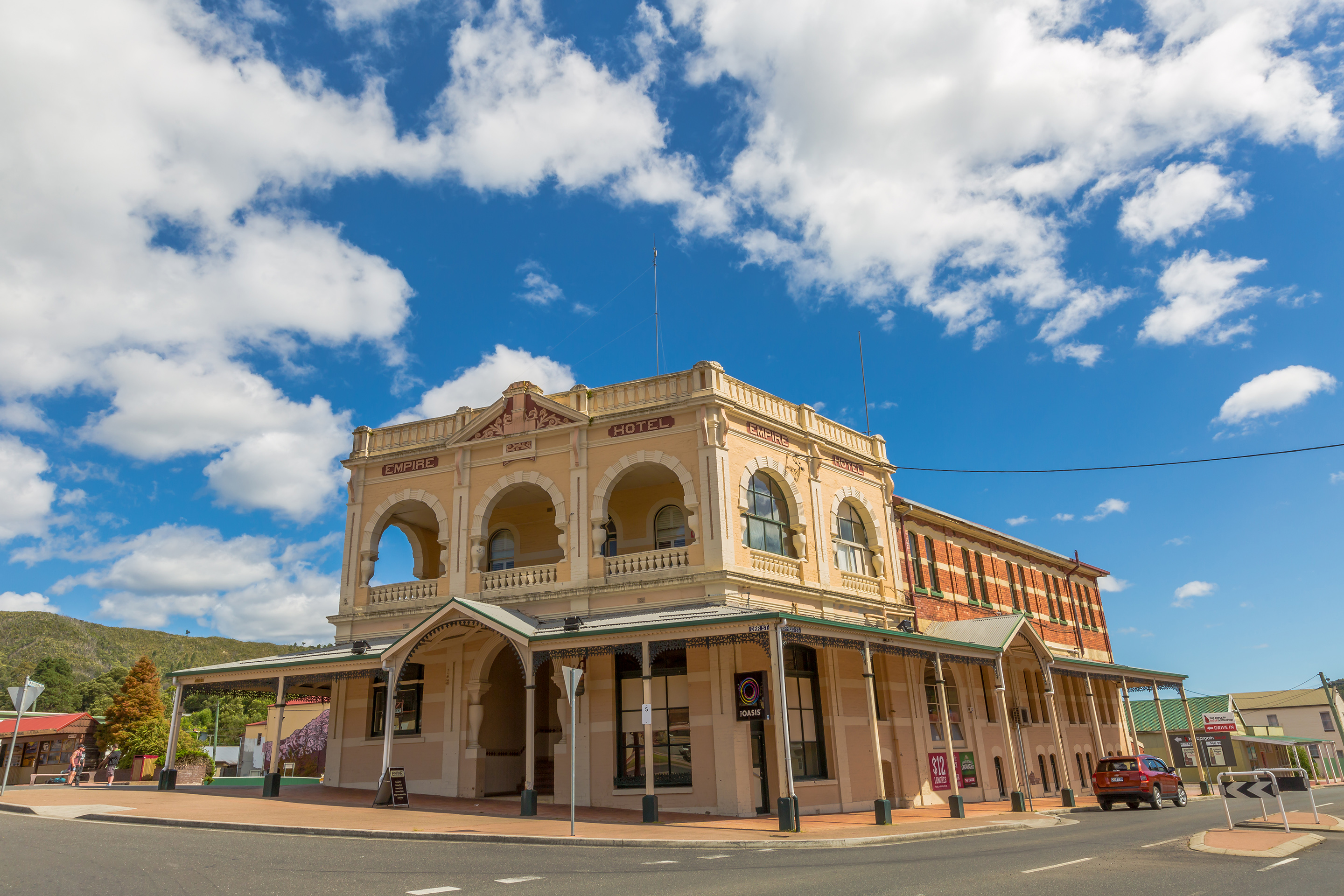 Queenstown, Tasmania, Australia - January 10, 2015: Empire Hotel in Victorian style, in historic Queenstown, the largest town on Tasmanias west coast